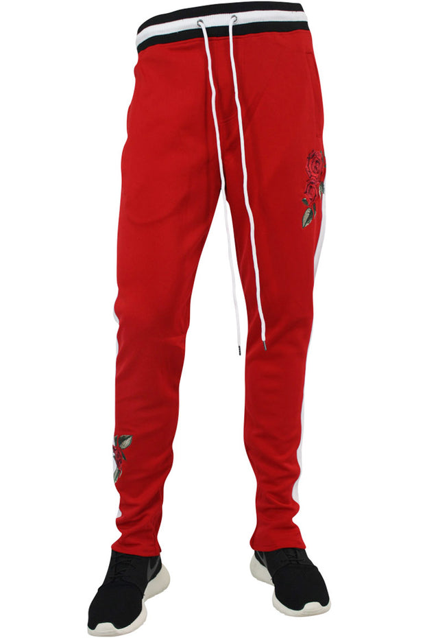 Side Stripe Rose Embroidered Track Pants Red - White (P877)