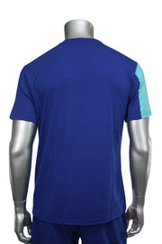 Color Block Glossy Print Tee Royal Blue (19203) - Zamage
