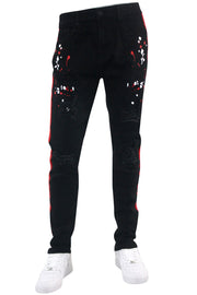 Distressed Triple Side Stripe Paint Splatter Denim Black Wash - Red - White (HZW4228) - Zamage