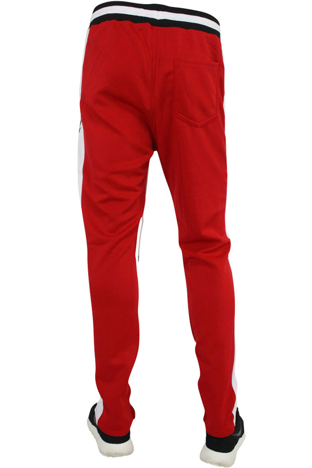 Side Stripe Rose Embroidered Track Pants Red - White (P877 22S)