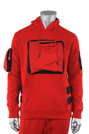 Utility Color Block Pullover Hoodie Red (192-365) - Zamage