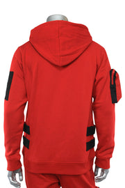 Utility Color Block Pullover Hoodie Red (192-365)
