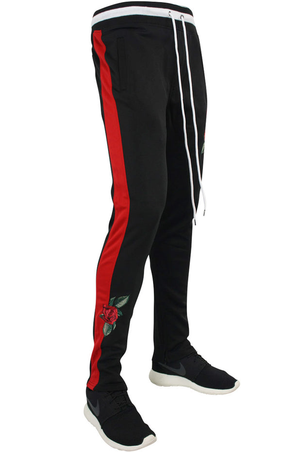Side Stripe Rose Embroidered Track Pants Black - Red (P877)
