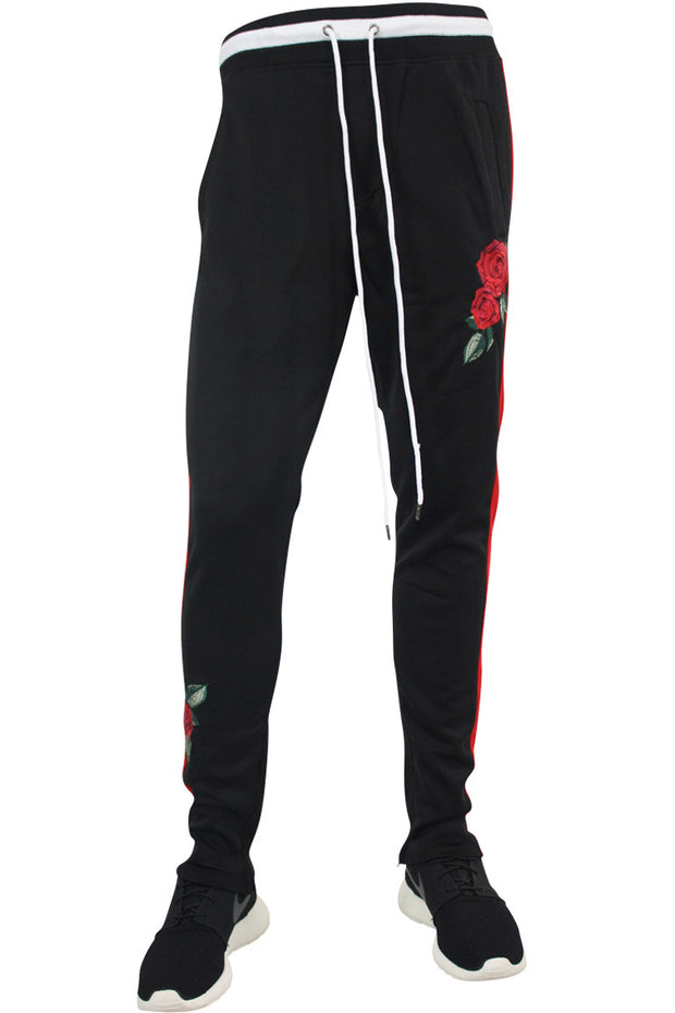 Side Stripe Rose Embroidered Track Pants Black - Red (P877 22S)