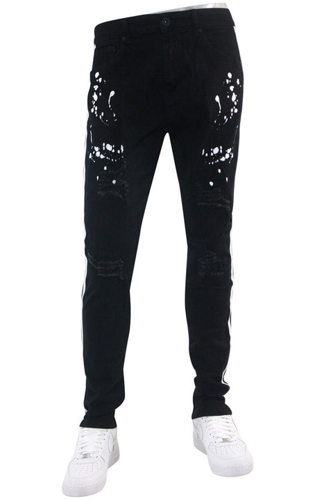 Distressed Triple Side Stripe Paint Splatter Denim Black Wash - White (HZW4228) - Zamage