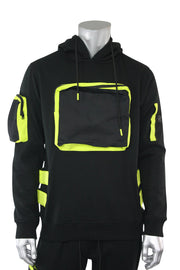 Utility Color Block Pullover Hoodie Black (192-365)