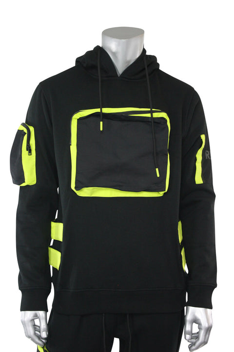 Utility Color Block Pullover Hoodie Black (192-365) - Zamage