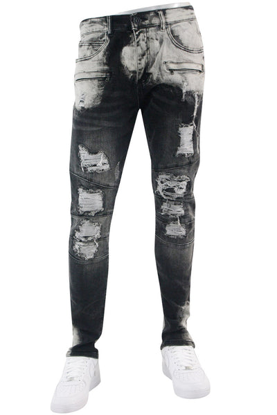 Moto Pieced Skinny Fit Denim Black - Grey Wash (M4658D) - Zamage
