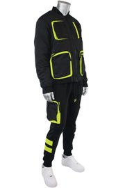 Utility Fleece Bomber Jacket Black - Lime (192-590) - Zamage