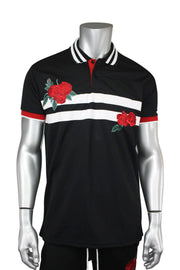 Striped Rose Embroidered Shirt Black (PK885)