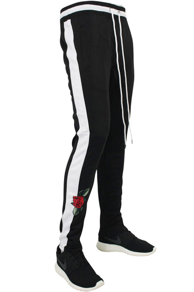 Side Stripe Rose Embroidered Track Pants Black - White (P877)