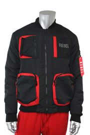 Utility Fleece Bomber Jacket Black - Red (192-590) - Zamage