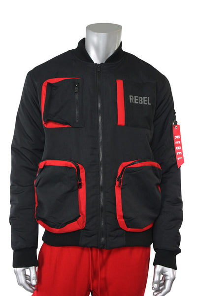 Utility Fleece Bomber Jacket Black - Red (192-590)