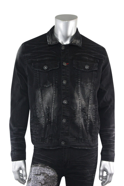 Skull Print Denim Jacket Black Wash (M6158D) - Zamage