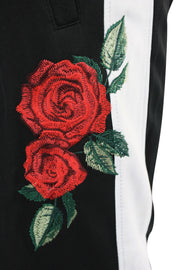 Side Stripe Rose Embroidered Track Pants Black - White (P877) - Zamage