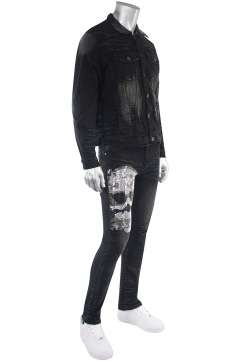 Skull Print Skinny Fit Denim Black Wash (M5017D) - Zamage