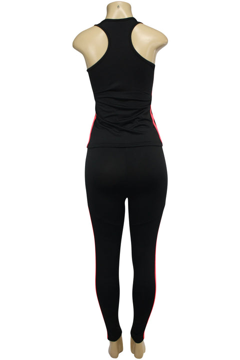 Women's Yoga Set Black - Neon Coral (AMBER-524)