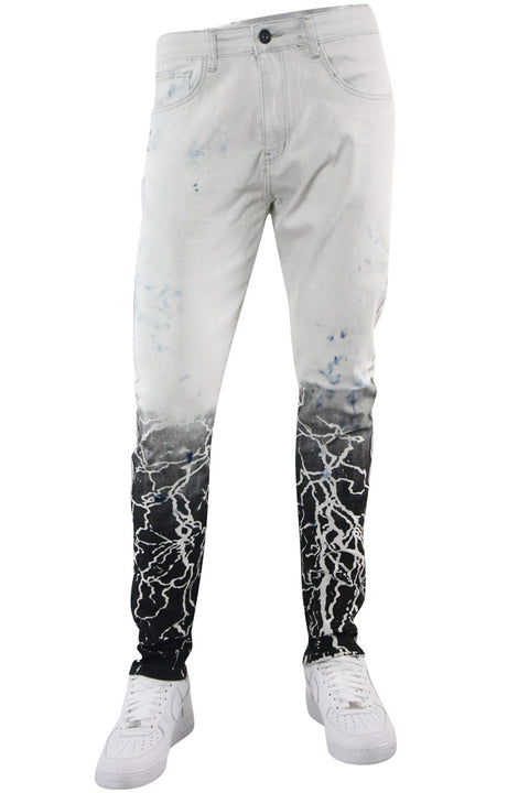 Moto Ripped Skinny Fit Denim Tie Dye Wash (M4938D) - Zamage