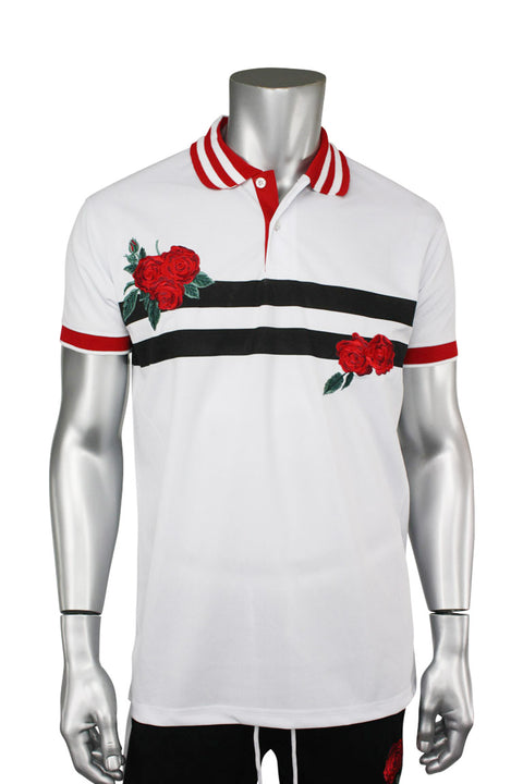 Striped Rose Embroidered Shirt White (PK885)