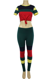Women's Color Block Track Set Green - Red - Yellow (PINK-30)