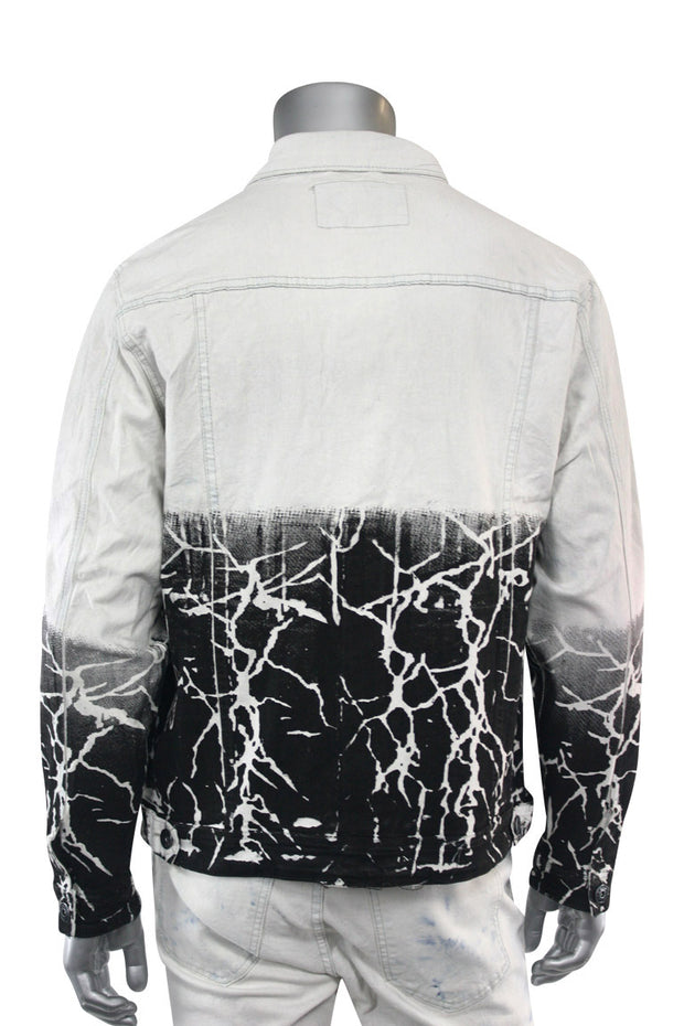 Moto Ripped Denim Jacket Tie Dye (M6146D) - Zamage