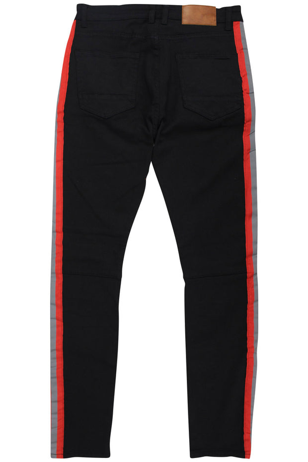 Reflective Side Stripe Skinny Fit Track Denim Black - Red (ZCM4428T)