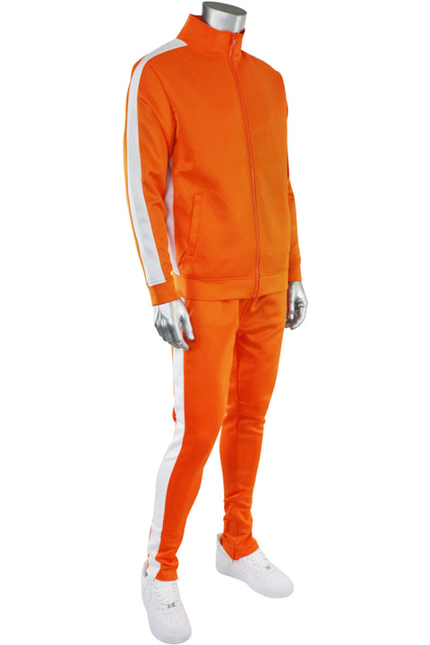Solid One Stripe Track Jacket Orange - White (100-502) - Zamage