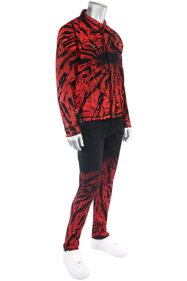 Flame Print Skinny Fit Denim Black - Red (M5056D) - Zamage