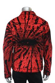 Flame Print Denim Jacket Black - Red (M6173D) - Zamage