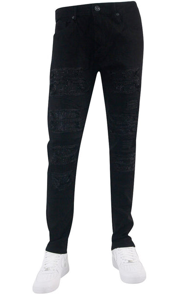 Studded Backin Ripped Skinny Fit Denim Jet Black (M4963D) - Zamage