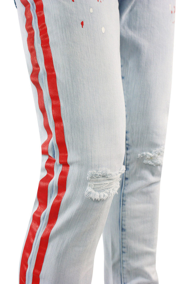 Side Stripe Paint Splatter Skinny Fit Denim Blue Wash - Red (HZW4772) - Zamage