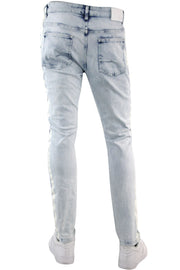 Side Stripe Paint Splatter Skinny Fit Denim Blue Wash - White (HZW4772) - Zamage