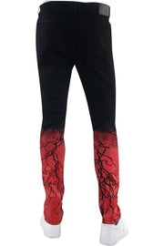Moto Cracked Skinny Fit Denim Black Wash - Red (HZW4669 22S) - Zamage