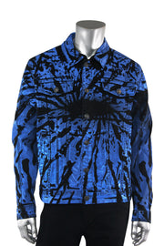 Flame Print Denim Jacket Black - Blue (M6173D) - Zamage