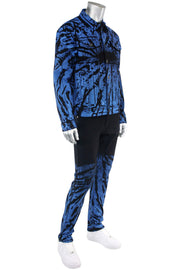 Flame Print Skinny Fit Denim Black - Blue (M5056D) - Zamage