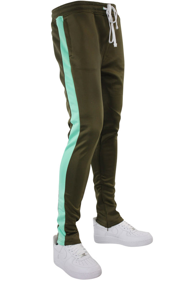 Solid One Stripe Track Pants Olive - Mint (100-402) - Zamage