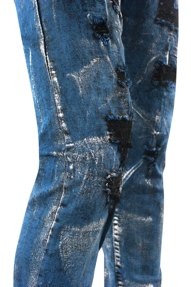 Destroyed Paint Splatter Skinny Fit Denim Blue - Silver (M5050D) - Zamage