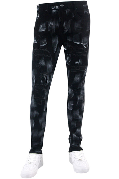Paint Brushed Skinny Fit Denim Black - White - Grey (M5047D) - Zamage