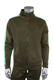 Solid One Stripe Track Jacket Olive - Mint (100-502)