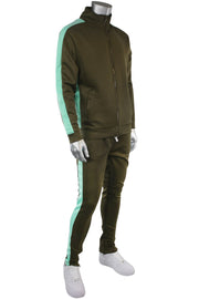 Solid One Stripe Track Jacket Olive - Mint (100-502) - Zamage