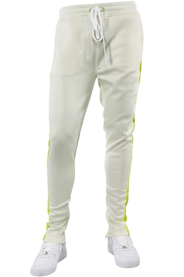 Solid One Stripe Track Pants Cream - Lime (100-402)