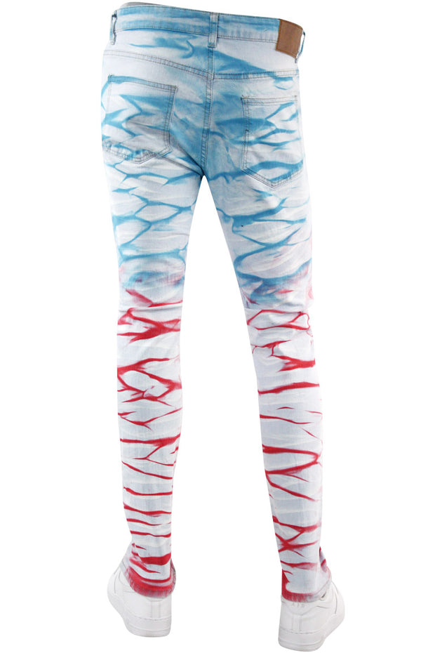 Hawaiian Surf Skinny Fit Denim Turquoise - Red (M5082D) - Zamage