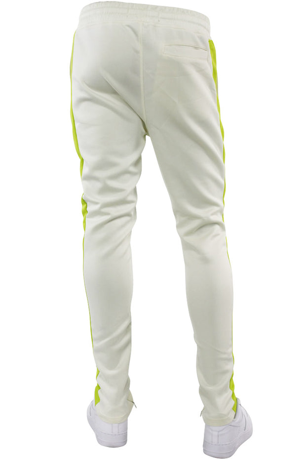 Solid One Stripe Track Pants Cream - Lime (100-402) - Zamage
