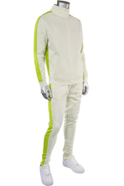 Solid One Stripe Track Jacket Cream - Lime (100-502)