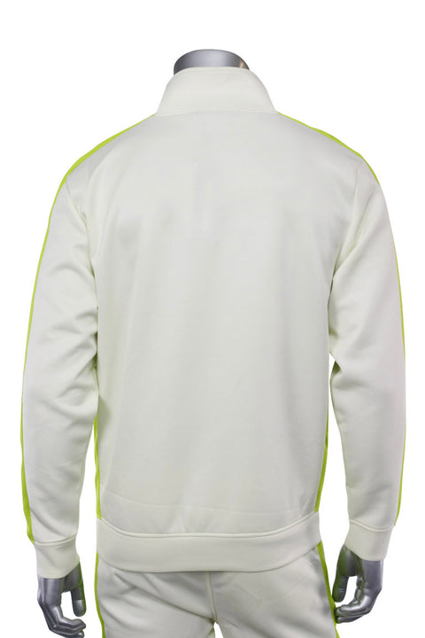 Solid One Stripe Track Jacket Cream - Lime (100-502) - Zamage