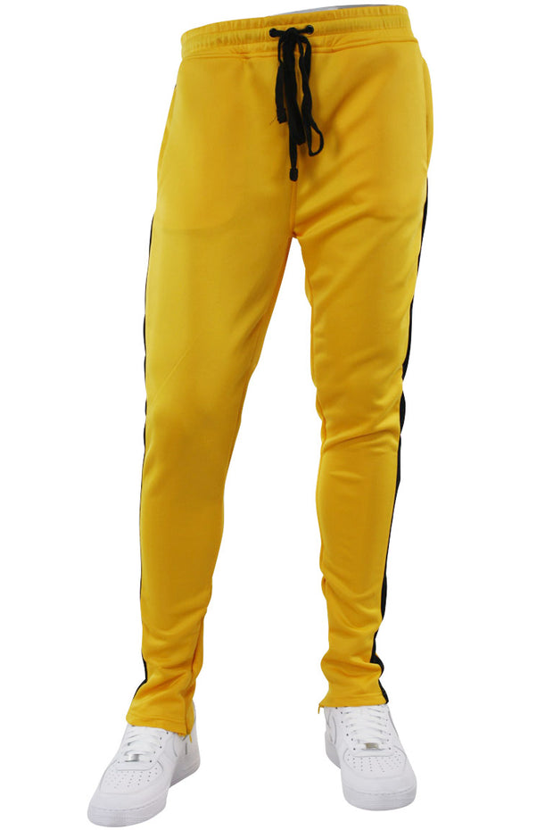 Solid One Stripe Track Pants Golden Yellow - Black (100-402) - Zamage