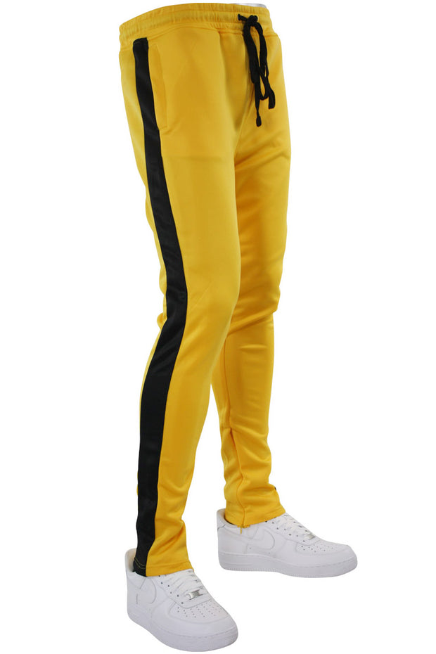 Solid One Stripe Track Pants Golden Yellow - Black (100-402)