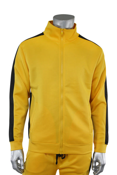 Solid One Stripe Track Jacket Golden Yellow - Black (100-502) - Zamage
