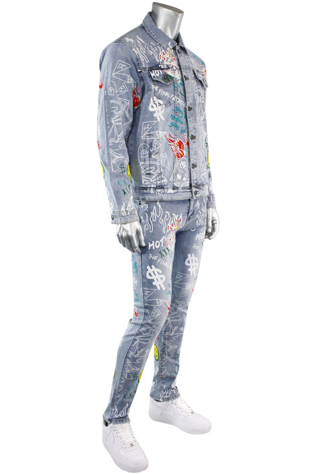 Graffiti Print Liftoff Denim Jacket Light Blue Wash (M6145D) - Zamage