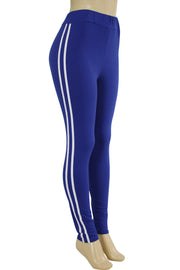 Side Stripe Leggings Royal Blue - White (MADISON-84)